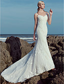 cheap Wedding Dresses-A-Line Sweetheart Neckline Sweep / Brush Train Lace / Tulle Made-To-Measure Wedding Dresses with Beading / Lace by LAN TING BRIDE® / Beautiful Back