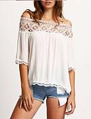 baratos Vestidos Femininos-Mulheres Camiseta - Praia Estampa Colorida Ombro a Ombro Azul L