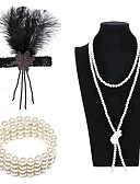 cheap Historical & Vintage Costumes-The Great Gatsby Charleston Vintage 1920s Costume Women's Flapper Headband Head Jewelry Pearl Necklace Slave Bracelet White / Black / Golden Vintage Cosplay Party Prom