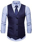 cheap Men's Blazers & Suits-Men's Going out / Weekend Basic Spring &  Fall Short Vest, Solid Colored V Neck Sleeveless Polyester Patchwork Black / Navy Blue / Khaki L / XL / XXL / Slim