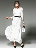 cheap Women's Dresses-Women's Going out Maxi Swing Dress - Solid Colored White, Lace Fall White Black L XL XXL
