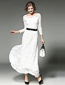 お買い得  マキシドレス-女性用 お出かけ スウィング ドレス - レース, ソリッド マキシ ホワイト