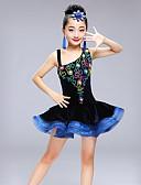 baratos Vestidos de Patinação no Gelo-Dança Latina Vestidos Para Meninas Espetáculo Elastano Combinação Sem Manga Alto Vestido
