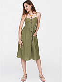 baratos Vestidos Femininos-Mulheres Moda de Rua Algodão Delgado Evasê Vestido Sólido Com Alças Médio / Verão
