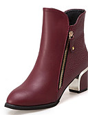 cheap Women's Coats & Trench Coats-Women's Fashion Boots PU(Polyurethane) Fall Minimalism Boots Chunky Heel Round Toe Mid-Calf Boots Black / Wine