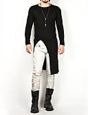 お買い得  メンズTシャツ&タンクトップ-男性用 Tシャツ ベーシック ラウンドネック ソリッド コットン ホワイト XL / 長袖 / ロング