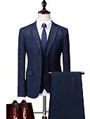 זול חלוקים & Sleepwear-שחור / נייבי כהה מעוטר גזרה רגילה פוליאסטר חליפה - פתוח Single Breasted Two-button