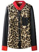 baratos Blusas Femininas-Mulheres Blusa Básico Leopardo