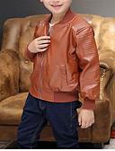 povoljno Jakne i kaputi za dječake-Djeca Dječaci Aktivan Jednobojni Dugih rukava Normalne dužine PU Pernata i pamučna podstava Crn