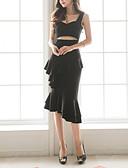 tanie Bluzka-Damskie Moda miejska Mała czarna / Spódnica Sukienka - Jendolity kolor Asymetryczna