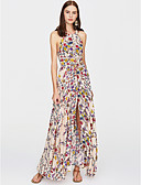זול שמלות נשים-מקסי מפוצל, פרחוני - שמלה נדן כותנה בגדי ריקוד נשים / אביב