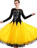 お買い得  ソシアルダンスウェア-ボールルームダンス ドレス 女性用 訓練 ナイロン / オーガンザ / チュール クリスタル / ラインストーン 長袖 ハイウエスト ドレス