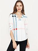 baratos Suéteres de Mulher-Mulheres Camiseta Xadrez Algodão Decote V Solto / Primavera / Outono