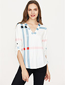 preiswerte Damenmäntel und Trenchcoats-Damen Verziert Baumwolle T-shirt, V-Ausschnitt Lose / Frühling / Herbst