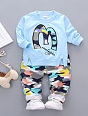 hesapli Erkek Çocuk Kıyafet Setleri-Çocuklar Genç Erkek Actif Günlük Dışarı Çıkma Desen Uzun Kollu Normal Pamuklu Kıyafet Seti Doğal Pembe