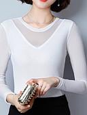 baratos Camisetas Femininas-Mulheres Camiseta Básico Guarnição do laço, Sólido