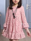 זול שמלות לבנות-שמלה שרוול ארוך תחרה אחיד ורד מאובק ליציאה פעיל / מתוק בנות ילדים