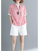 ieftine Tricou-Pentru femei Bluză Bumbac Dungi / Bloc Culoare