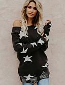 baratos Suéteres de Mulher-Mulheres Diário Sólido Manga Longa Padrão Pulôver, Decote Redondo Algodão Preto M / L / XL
