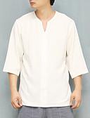 abordables Camisetas y Tops de Hombre-Hombre Lino Camisa Un Color Azul Piscina XL