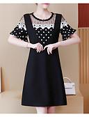 זול שמלות נשים-מעל הברך דפוס, מנוקד - שמלה נדן מידות גדולות ליציאה בגדי ריקוד נשים