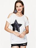 cheap Women's Blouses-Women's Cotton T-shirt Print / Summer / Sequin / Cut Out