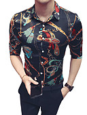 זול חולצות לגברים-קולור בלוק צווארון קלאסי רזה חולצה - בגדי ריקוד גברים