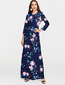 cheap Print Dresses-Women's Floral Daily / Holiday Boho Maxi Swing Dress - Floral Print High Waist Spring White Black Royal Blue L XL XXL
