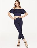 זול חליפות שני חלקים לנשים-מכנס קפלים / סירה מתחת לכתפיים, אחיד / אחר - חולצת קרופ / סט רזה בגדי ריקוד נשים / קיץ / סקסית