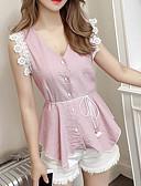 baratos Blusas Femininas-Mulheres Camisa Social Sólido Decote V