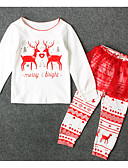 povoljno Kompletići za djevojčice-Djeca Djevojčice Osnovni Božić Print Dugih rukava Poliester Komplet odjeće Obala