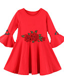 رخيصةأون قمصان نسائية-فستان كم طويل سادة / ورد فتيات أطفال