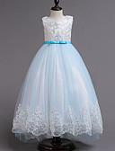 זול שמלות לבנות-שמלה ללא שרוולים תחרה / פפיון / שכבות מרובות מטאלי Party מתוק בנות ילדים