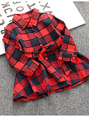 cheap Quartz Watches-Toddler Girls' Basic Christmas Plaid / Check Long Sleeve Regular Polyester Shirt Red