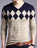 tanie Męskie swetry i swetry rozpinane-Męskie Codzienny Kolorowy blok Długi rękaw Regularny Pulower, W serek Brązowy / Czerwony / Żółtobrązowy XL / XXL / XXXL