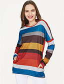 cheap Women's T-shirts-Women's Basic / Color Block Cotton T-shirt - Striped / Spring / Fine Stripe