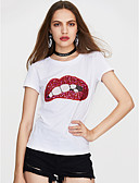 cheap Women's T-shirts-Women's Going out Street chic T-shirt - Geometric White M / Spring / Summer