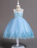 hesapli Elbiseler-Çocuklar Toddler Genç Kız Actif Tatlı Parti Tatil Solid Payetler Çoklu Katman Kolsuz Diz-boyu Asimetrik Elbise YAKUT / Pamuklu