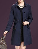 cheap Women's Trench Coats-Women's Going out Street chic / Sophisticated Plus Size Trench Coat - Solid Colored