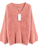 cheap Women's Sweaters-Women's Daily Basic Solid Colored Long Sleeve Slim Regular Pullover, V Neck Pink / Beige / Yellow One-Size