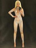 cheap Zentai Suits-Dance Costumes Exotic Dancewear / Rhinestone Bodysuit Women's Performance Spandex Crystals / Rhinestones Long Sleeve Natural Leotard / Onesie