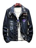 זול חולצות לגברים-אותיות מידות גדולות ז'קטים מג'ינס - בגדי ריקוד גברים כותנה / ג'ינס / שרוול ארוך