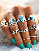 cheap Women's Sweaters-Couple's Turquoise Retro Hollow Out Artisan Ring Nail Finger Ring Midi Ring Alloy Leaf Heart Flower Statement Ladies Unusual Unique Design Bohemian Punk Ring Jewelry Silver For Evening Party Carnival