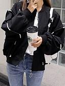 olcso Bomber Jackets-Női Napi Alap Ősz & tél Szokványos Dzsekik, Egyszínű / Kreatív / Szöveg Állógallér Hosszú ujj Poliészter Fehér / Fekete M / L / XL