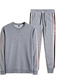 baratos Pólos Masculinas-Homens Moletom / activewear Set - Estampado, Sólido / Listrado / Letra