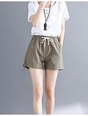 abordables Pantalones para Mujer-pantalones cortos de lino de las mujeres - de color sólido