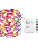 olcso Férfi pólók és atléták-zdm 5m 50 vezetett tündér fények akkumulátor működtetett lámpák vízálló 8 módok tündér string fények távoli és időzítő tűzijáték fények karácsonyi dekoráció karácsonyi fények több szín