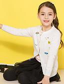お買い得  女児 セーター&カーディガン-子供 女の子 ベーシック プリント 長袖 レギュラー ポリエステル セーター&カーデガン ホワイト