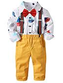 preiswerte Kleidersets für Jungen-Kinder / Baby Jungen Aktiv / Street Schick Party / Ausgehen Solide / Druck Druck Langarm Standard Standard Baumwolle / Polyester Kleidungs Set Weiß 100
