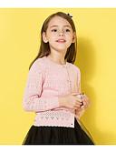 お買い得  女児 セーター&カーディガン-子供 女の子 ベーシック 幾何学模様 長袖 レギュラー ポリエステル セーター&カーデガン ピンク